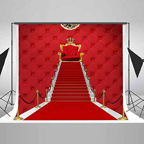 EARVO 10x10ft Red Carpet Stairs Backdrop Wedding Themed Party YouTube Golden Crown Photography Background Cotton Backdrop Studio Photo Props -