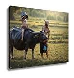 Ashley Canvas, Father And Son With A Buffalo This Lifestyle Thai People, Home Decoration Office, Ready to Hang, 20x25, AG6344671