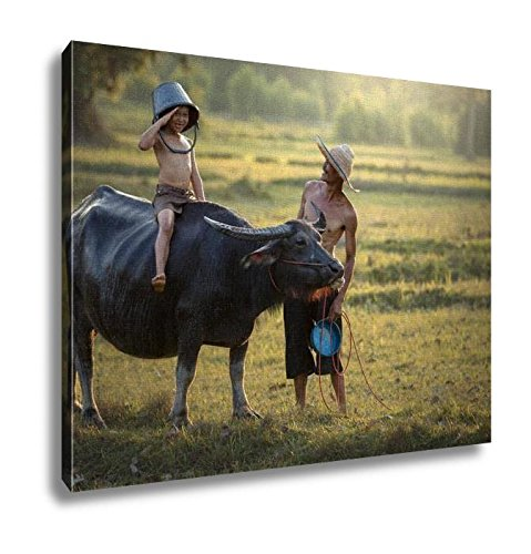 Ashley Canvas, Father And Son With A Buffalo This Lifestyle Thai People, Home Decoration Office, Ready to Hang, 20x25, AG6344671 by Ashley Canvas
