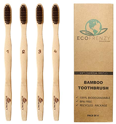 Bamboo Toothbrush: Soft BPA Free Charcoal Bristles, Biodegradable. (Pack of 4)