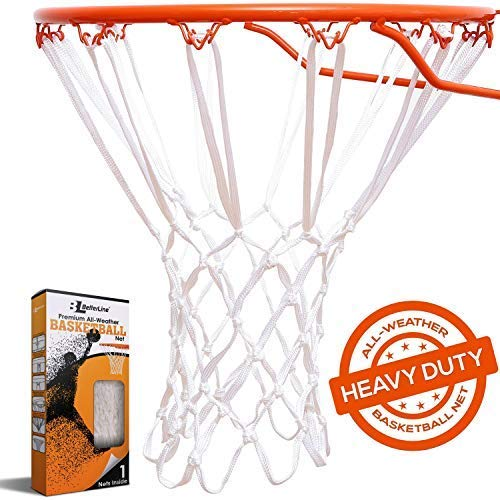 BETTERLINE Heavy Duty Basketball Net Replacement - All-Weather Thick Nets Fit Standard Indoor and Outdoor 12-Loop Rims (White)