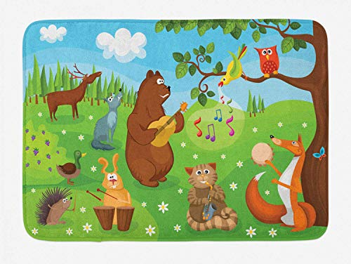 YVSXO Hedgehog Bath Mat, Open Air Concert in Forest Instrument Playing Bear Rabbit Fox and Tweeting Bird, Plush Bathroom Decor Mat with Non Slip Backing, 31.5 W X 19.68 L Inches, Multicolor