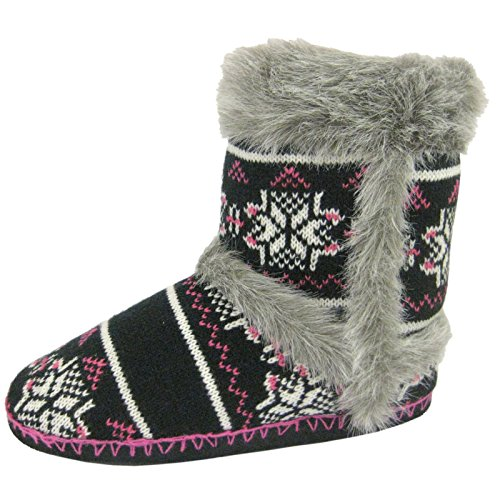 Ladies Coolers Black Grey Fur Warm Lined Boot Slippers Sizes 3 4 5 6 7 8 r3Rlt