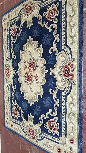 - emirates Classic Aubusson Traditional Floral Area Rug Dark Blue Red Beige Design 507 (7 Feet 9 Inch X 10 Feet)