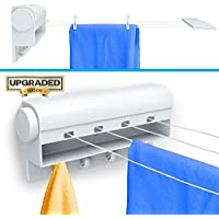 Retractable Tension Clothesline with 4 Built-in Hanging...