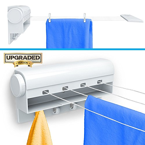 Retractable Tension Clothesline with 4 Built-in Hanging Hooks Instantly Creates 40 Feet of Drying Space Includes 10 Clothing Pins by Gideon