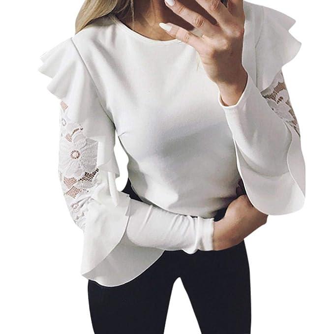 Camisetas de Encaje Mujer Las Mujeres,PANY Sólido Manga Larga Costura de Encaje O-