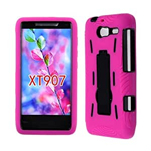 DUAL LAYER CELL PHONE COVER HARD SOFT PROTECTOR KICKSTAND CASE FOR MOTOROLA DROID RAZR M XT907 HOT PINK BLACK AA-005