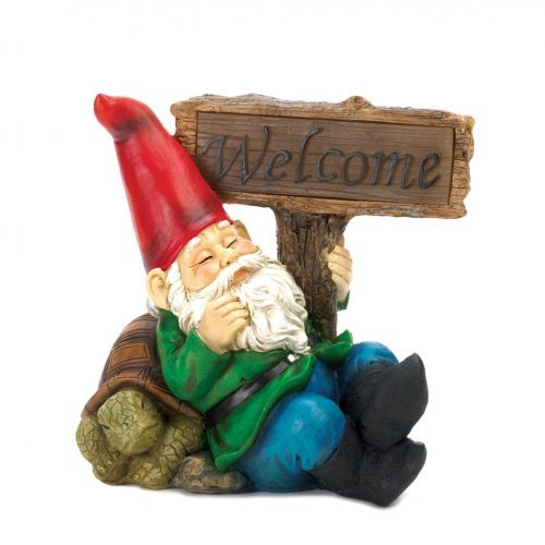 Koehler Home Decor Welcome Gnome Solar Statue (Sleepy Sign Welcome Gnome)