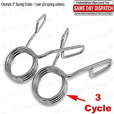 "Fitness Maniac Olympic 2-Inch Barbell collar Pair 2"" Chrome Spring Clip Weight Holder Bar Collars"