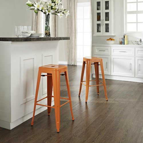 Crosley Furniture Amelia Set of 2 Metal Cafe Backless Barstools Orange