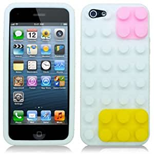 OnlineBestDigital - Brick Style Soft Silicone Case for Apple iPhone 5S / Apple iPhone 5 - White with 3 Screen Protectors