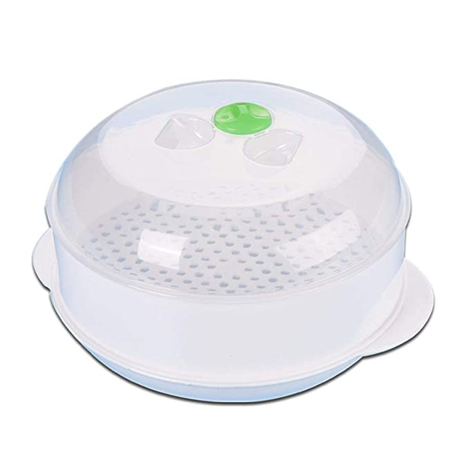 H-ONG Microwave Steamer Round Plastic Steamer Vegetable Rice ...