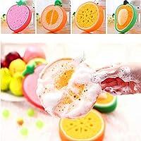 Ekan 2 pcs Fruit Shape Bath Sponge Bath Loofah Bath Scrub, Multicolored 20 Grams Pack of 1