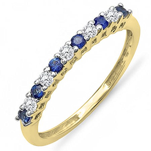 Blue Sapphire Yellow Gold Ring - 14K Yellow Gold Round White Diamond & Blue Sapphire Stackable Wedding Band 1/3 CT (Size 5.5)