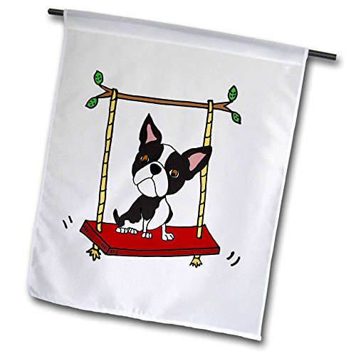 3dRose All Smiles Art Pets - Funny Cute Boston Terrier Dog on Swing Cartoon - 18 x 27 inch Garden Flag (fl_270101_2)