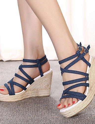 ShangYi Women's Shoes Fleece Wedge Heel Open Toe Sandals Party  Evening / Dress Black / Blue