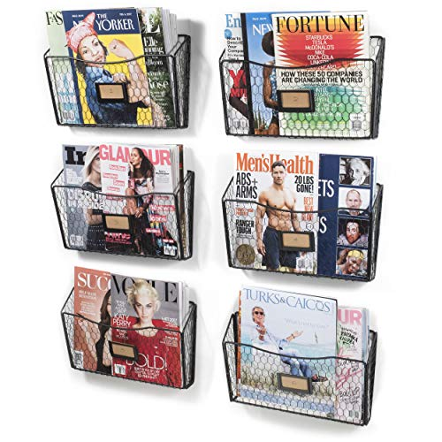 - Wall35 Felic Hanging File Holder - Wall Mounted Metal Chicken Wire Magazine Rack - Office Folder Organizer with Name Tag Slot in Black (6)