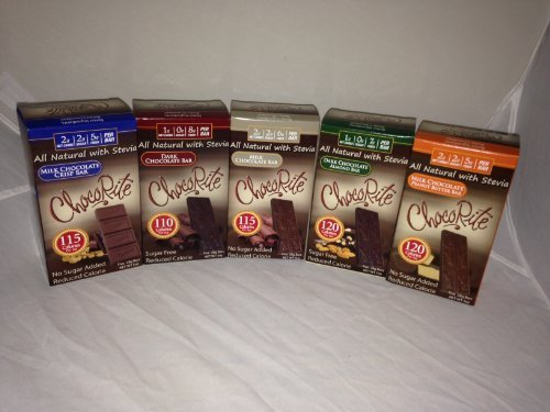 HealthSmart Chocorite 5 Flavor Variety Pack - Each Flavor Has 5- 1oz Bars - All Natural with Stevia- No Sugar Added by HealthSmart