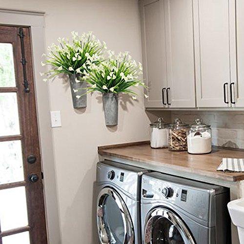 HOGADO-Artificial-Shrubs-4pcs-Fake-Calla-Lily-Faux-Plastic-Greenery-Plants-Flower-Arrangement-for-Home-Kitchen-Dining-Room-Hanging-Planter-Garden-Cream
