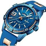 Watches, Men's Watch Blue Business Fashion Classic Silicone Strap Waterproof Calendar Date Quartz Analog Display Wrist Watch for Men