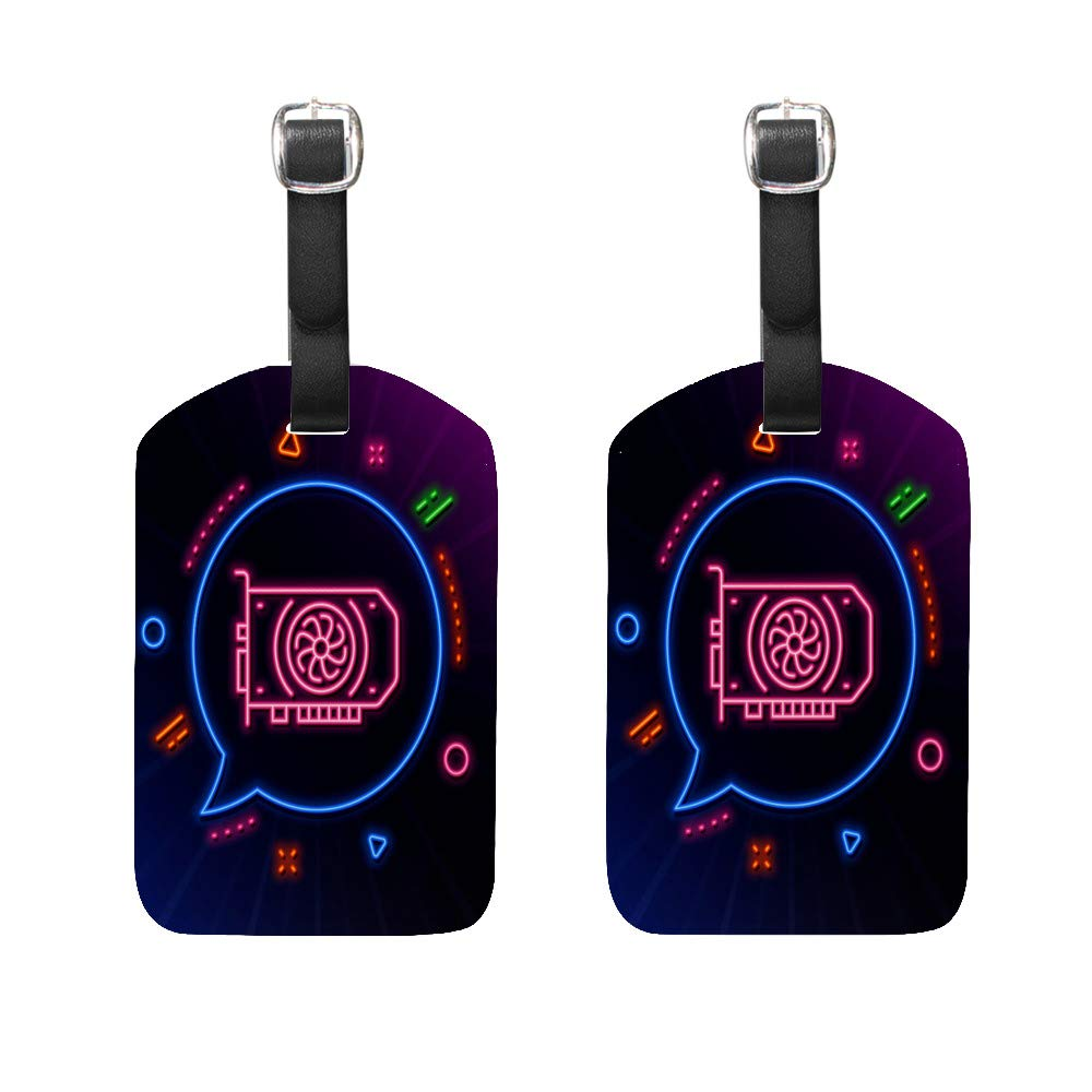 Luggage Tags PU Leather Tags Suitcase Labels Travel Bag With Privacy Cover Gpu Graphic Card Neon Creative Pattern Printing 2pcs