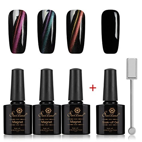 3 Pcs 3D Cat Eye Nail Gel Set, Saviland Soak Off Chameleon Cat Eye Gel Nail Polish UV LED Starter Nail Art 10ml+ Black Base Color Gel +Free Magnet Stick