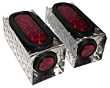 6 inch oval light bracket - ToughGrade ATB6R 2 Diamond Plate Aluminum Trailer Light Boxes with 6