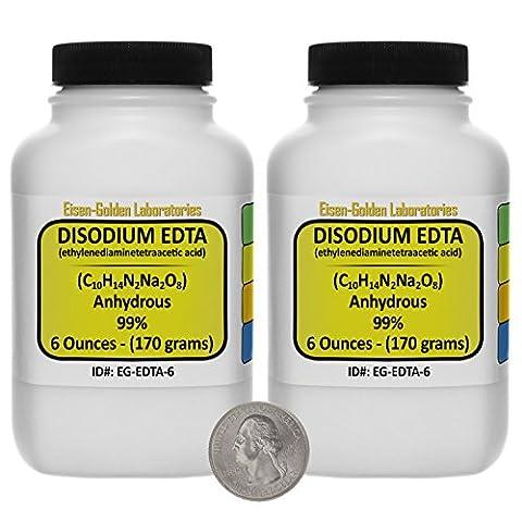 Disodium EDTA [C10H14N2Na2O8] 99% ACS Grade Powder 12 Oz in Two Space-Saver Bottles USA - Edta Disodium Salt