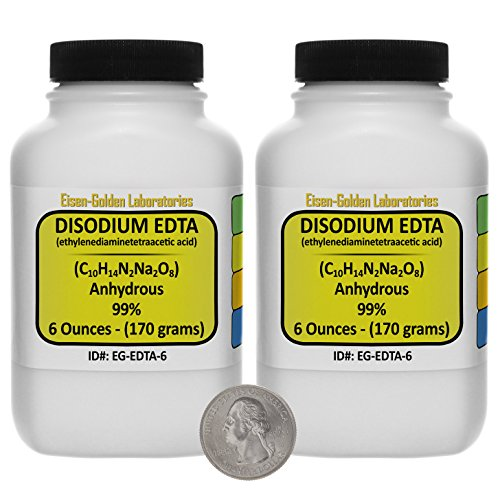 Disodium EDTA [C10H14N2Na2O8] 99% ACS Grade Powder 12 Oz in Two Space-Saver Bottles USA