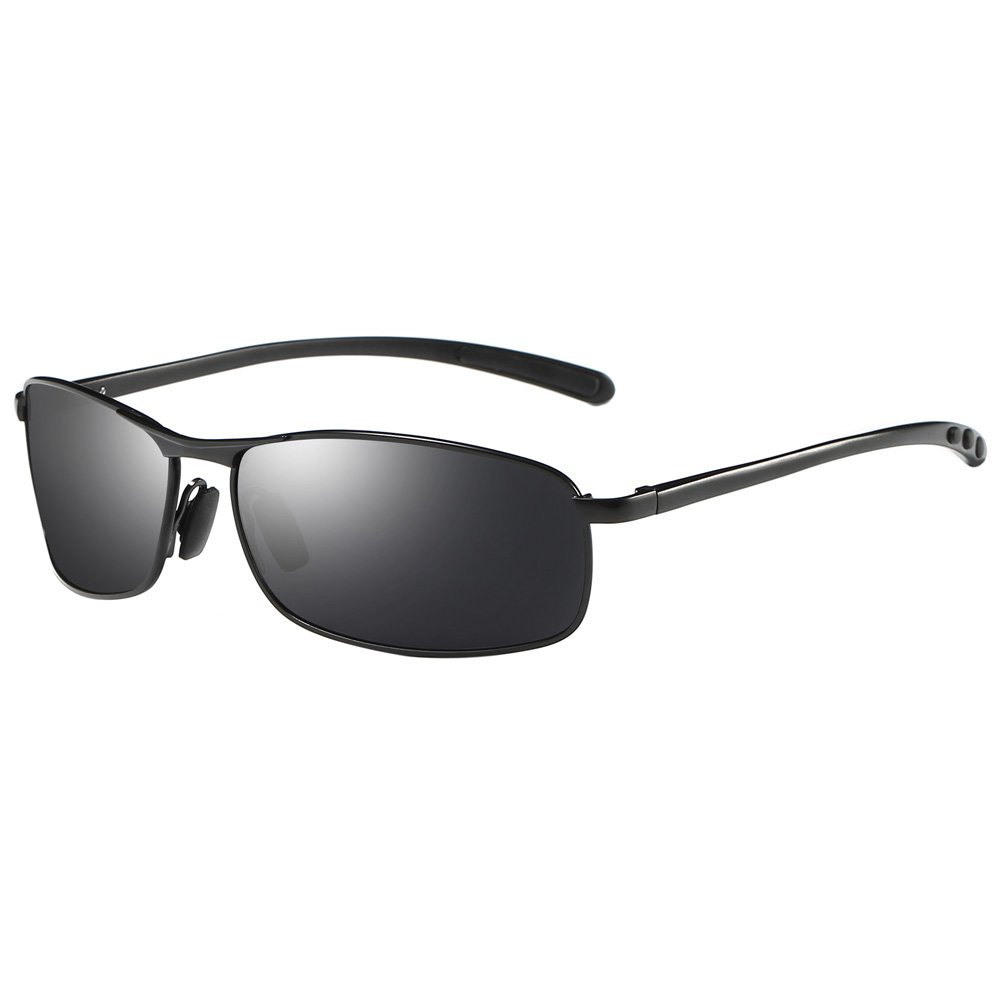 ZHILE Rectangular Polarized Sunglasses Al-Mg Alloy Temple Spring Hinge UV400 (Black, Grey)