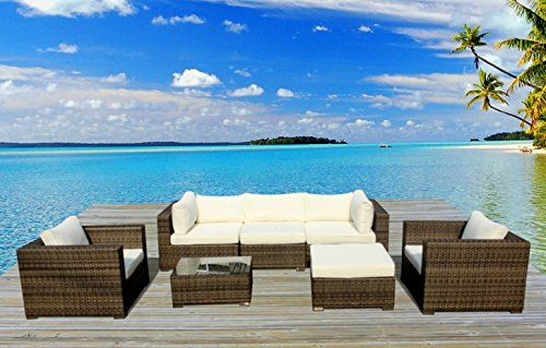 Outdoor Patio Furniture Modern Sofa All Weather Wicker Rattan Sectional 7pc Resin Couch Set (San Antonio Outdoor Furniture)