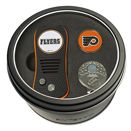 (Team Golf NHL Philadelphia Flyers Gift Set Switchblade Divot Tool, Cap Clip, & 2 Double-Sided Enamel Ball Markers, Patented Design, Less Damage to Greens, Switchblade Mechanism)