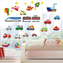 Cartoon Cars Trains Ships Boats Balloon Vinyl Wall Decal PVC Home Sticker House Paper Painting Decoration WallPaper Living Room Bedroom Kitchen Art Picture DIY Murals kids Nursery Baby Decor