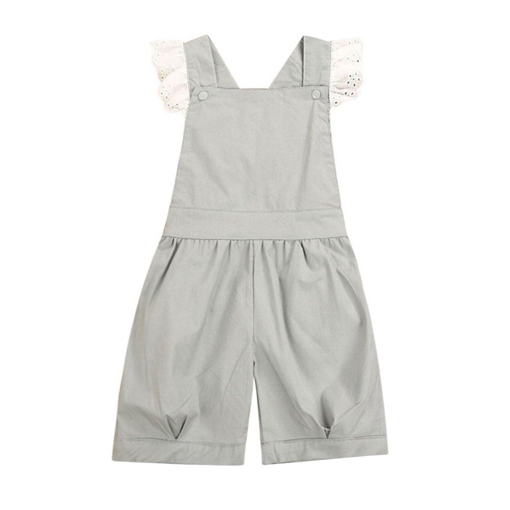 Kids Girls Lace Overalls Jumpsuit Short Pants Criss Cross Suspender Trousers