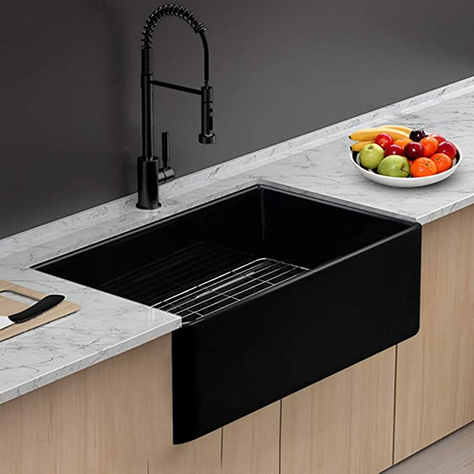 Farmhouse Sink - Lordear 30 Inch Gloss Black Fireclay Apron Front Ceramic Porcelain Vitreous Single Bowl Kitchen Sink