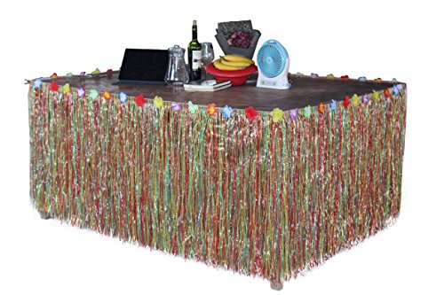 Hawaiian Hibiscus Table Skirt With Color String   Silk Faux Flowers Party Decoration  Multicolor  9 Ft