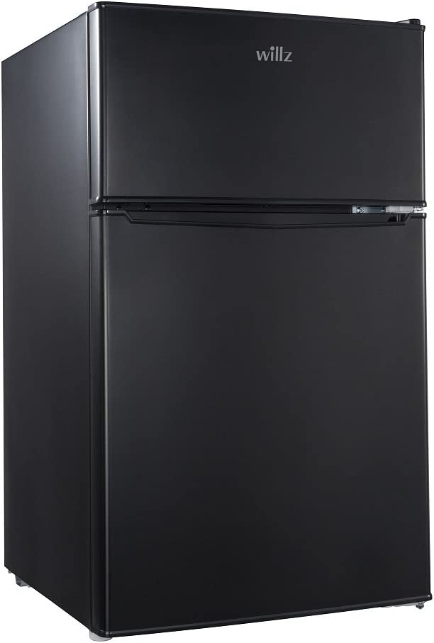 Willz WL31TBK 3.1 cu.ft. Refrigerator Dual Door True Freezer, Black