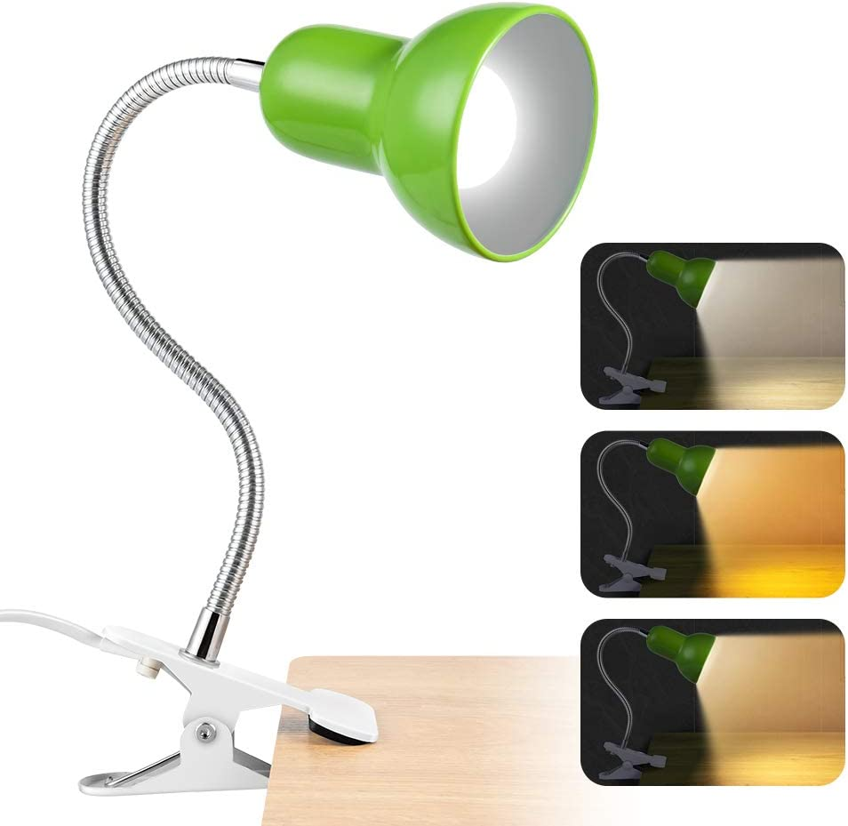 Desk lamp,360° Rotation Clip on Lamp Portable Book Reading Light,Clamp on Desk/Table/Bunk Bed/Cupboard Home Lighting (Green)