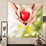 Lee S. Jones Custom tapestry family and love concept close up of woman and man hands with heart