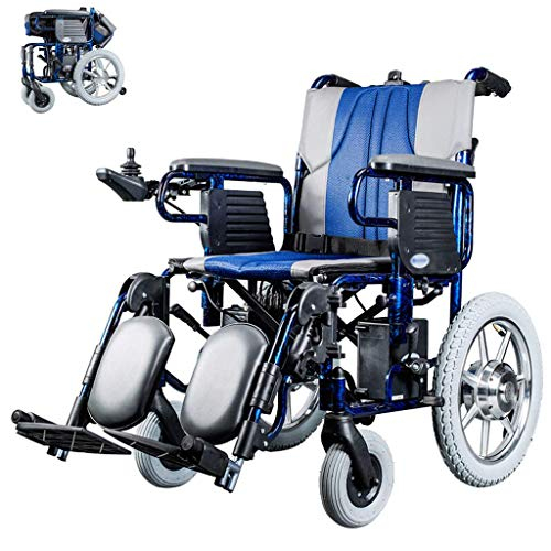 - MLNRDDLY Wheelchair, Electric Wheel Chair Folding Power Wheelchair Dual Control System Lightweight Manual/Electric Switching Double Motor for Disabled and Elderly Hemiplegia Paraplegia (Blue)