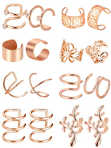 - Blulu 8 Pairs Stainless Steel Ear Cuff Non Piercing Clip on Cartilage Earrings for Men Women, 8 Various Styles (Rose Gold)