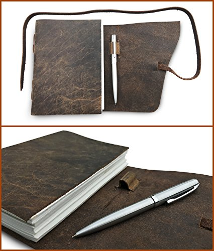 LEATHER JOURNAL Gift Set Handmade - Ideal Present with Box, Secret Pen Holder and Premium Metallic Pen - Writing Notebook 8 x 6 Inches Blank Paper, Rustic Leather-Bound Daily Notepad For Men and Women