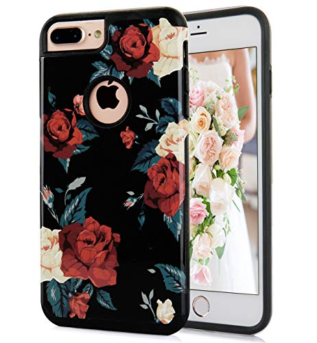 (iPhone 8 Plus Case Cute Flowers Floral Red Peony Pattern Dual Layer Black Soft TPU Hard PC Back Cover Shockproof Protective Fun Phone Cases for Women Girls[5.5