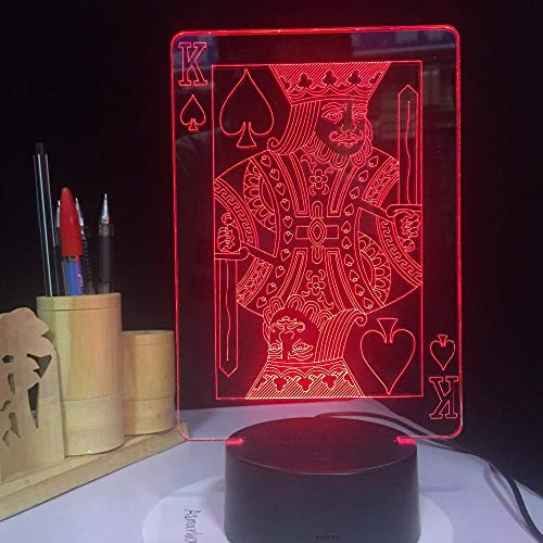 SanQ-Seven Poker King 3D LED Lamp Illusion Light Easter Decoration Flash LED for Table Desk Night Light with 7 Colors USB Touch Party Decor@A (Best Laptop For Poker 2019)