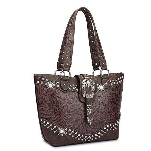 Dasein Designer Western Style Rhinestone Buckle Camo Women's Tote Handbag Perfect Shoulder Bag (Floral, Wine/Coffee)