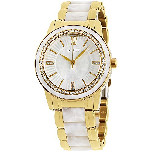 GUESS W0706L3,Ladies Dress,Stainless Steel,Gold-Tone,Crystal Accented Bezel,30m WR