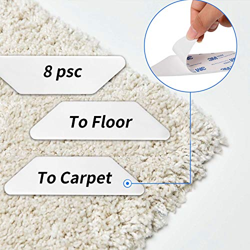 Yelanon Rug Grippers, 8pcs white Anti Curling Carpet Gripper, Renewable Washable Non Slip Tape Pad For Rug, Keeps Your Carpet Edges and Corners Flat, Strong Stickiness Without Hurting Floor by Yelanon (Image #3)