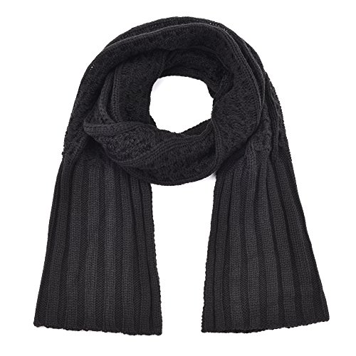 Winter Fashion Thick Knitted Scarf ,RiscaWin Cable Knit Wrap Chunky Warm Long Scarf(Black) (Knit Cable Cashmere Scarf)