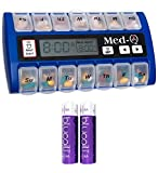 Med-Q Smart Pill Reminder with Triple Alarms and LED Alert (Blue) Bundle with 2 Blucoil AA Batteries